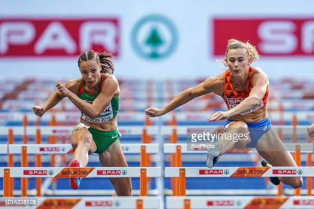 Nadine Visser of  Netherlands and Luca Kozák of  Hungary during 100 meter hurdles semifinal for women at the Olympic Stadium in Berlin at the...