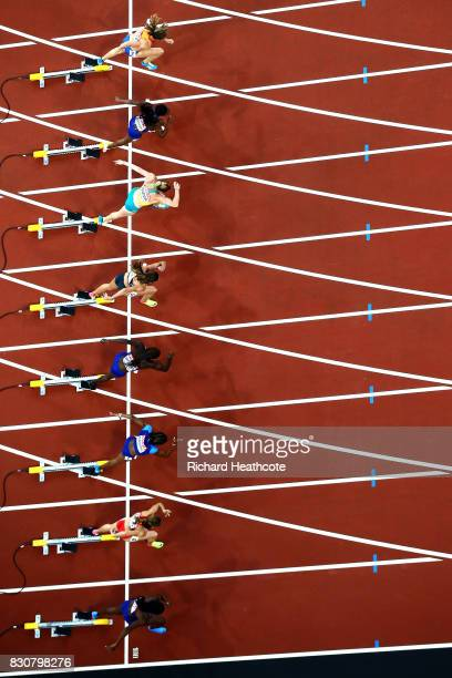 Nadine Visser of Netherlands Kendra Harrison of the United States Sally Pearson of Australia Pamela Dutkiewicz of Germany Dawn Harper Nelson of the...