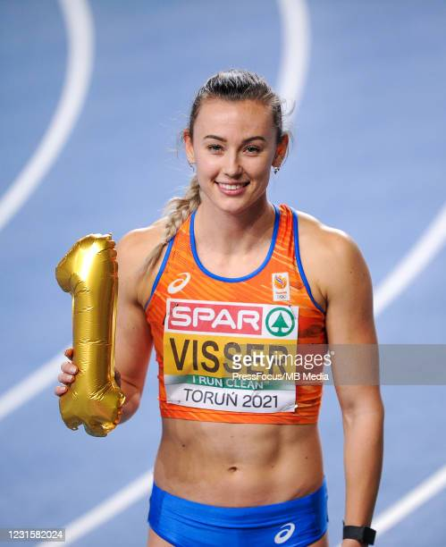 Nadine Visser of Netherlands poses for the pictures after the 60m Hurdles during the second session on Day 3 of European Athletics Indoor...