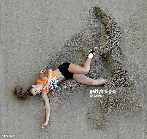 Nadine Visser of the Netherlands competes in the Women's Heptathlon Long Jump during day two of the 15th IAAF World Athletics Championships Beijing...