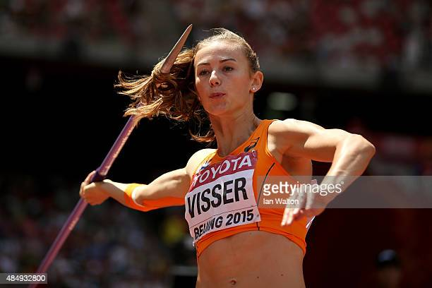Nadine Visser of the Netherlands competes in the Women's Heptathlon Javelin during day two of the 15th IAAF World Athletics Championships Beijing...