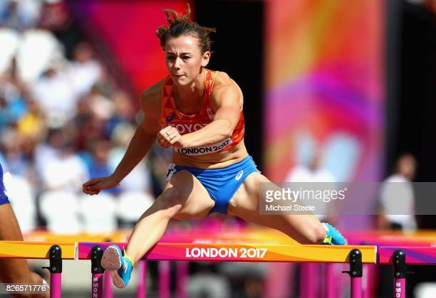 Nadine Visser of the Netherlands competes in the Women's Heptathlon 100 metres hurdles during day two of the 16th IAAF World Athletics Championships...