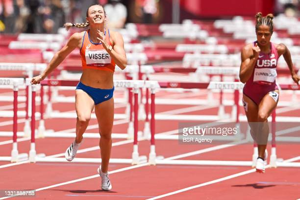 Nadine Visser of the Netherlands competing in the Women's 100m Hurdles Final during the Tokyo 2020 Olympic Games at the Olympic Stadium on August 2,...