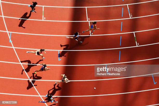 Nadine Visser of the Netherlands crosses the line in the Women's Heptathlon 100 metres hurdles during day two of the 16th IAAF World Athletics...