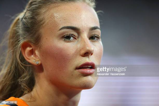 Nadine Visser of the Netherlands looks on during the Women's Heptathlon Shot Put during day one of the 15th IAAF World Athletics Championships...