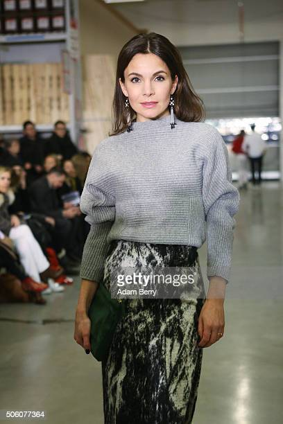 Nadine Warmuth attends the Perret Schaad show during the MercedesBenz Fashion Week Berlin Autumn/Winter 2016 at on January 21 2016 in Berlin Germany