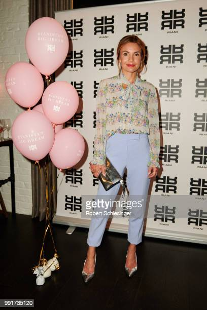 Nadine Warmuth attends the Riani after show party during the Berlin Fashion Week Spring/Summer 2019 at Grace Hotel Zoo on July 4 2018 in Berlin...