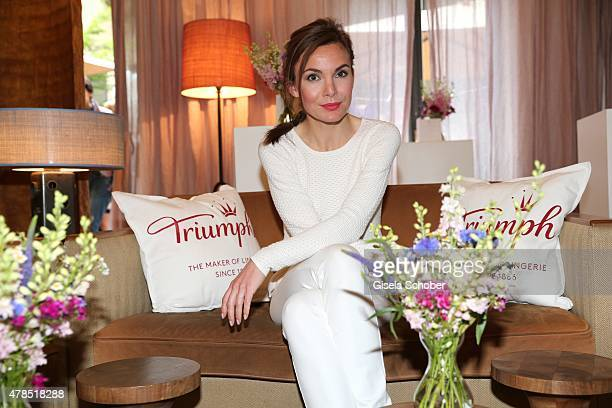 Nadine Warmuth attends the Triumph Filmfest Cocktail at Cortiina Bar on June 25, 2015 in Munich, Germany.