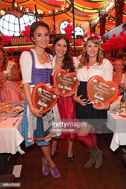Nadine Warmuth, Eva Maria Reichert and Luise Baehr attend the Regines Sixt Damen Wiesn during the Oktoberfest 2015 on September 21, 2015 in Munich,...