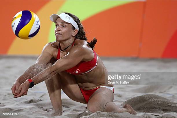 Nadine Zumkehr of Switzerland plays a shot during a Women's Quarterfinal match between Brazil and Switzerland on Day 9 of the Rio 2016 Olympic Games...