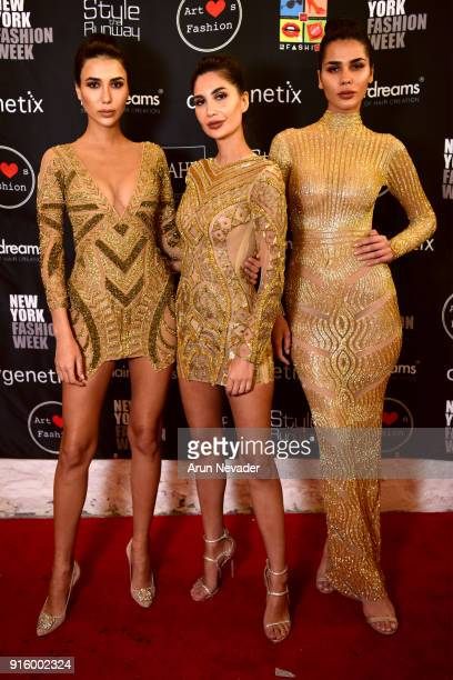 NadineAbdel Aziz Alice Abdel Aziz and Farah Abdel Aziz pose backstage at New York Fashion Week Powered by Art Hearts Fashion NYFW at The Angel...