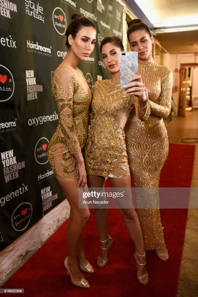 NadineAbdel Aziz , Alice Abdel Aziz and Farah Abdel Aziz pose backstage at New York Fashion Week Powered by Art Hearts Fashion NYFW at The Angel Orensanz Foundation on February 8, 2018 in New York City.