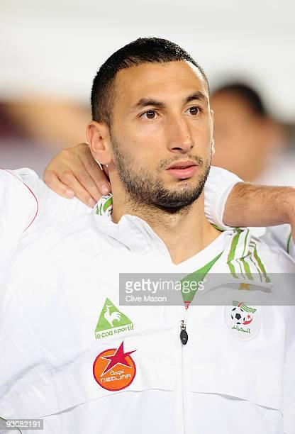 Nadir Belhadj of Algeria during the FIFA2010 World Cup qualifying match between Egypt and Algeria at the Cairo International Stadium on November 14...