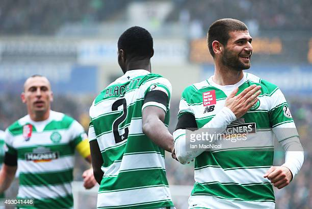 Nadir Ciftci of Celtic celebrates scoringduring the Ladbrokes Scottish Premiership match between Motherwell and Celtic at Fir Park on October 17 2015...