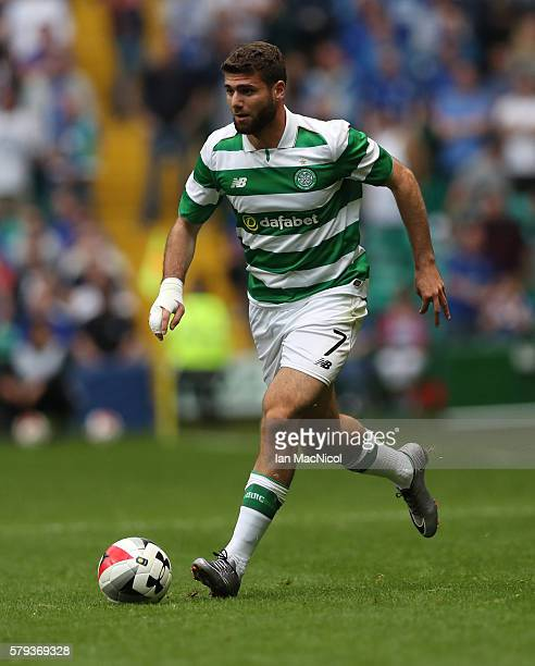Nadir Ciftci of Celtic controls the ball during the Pre Season Friendly match between Celtic and Leicester City at Celtic Park Stadium on July 23...