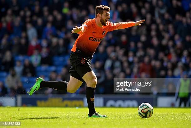 Nadir Ciftci of Dundee United celebrates scoring during the William Hill Scottish Cup Semi Final between Rangers and Dundee United at Ibrox Stadium...