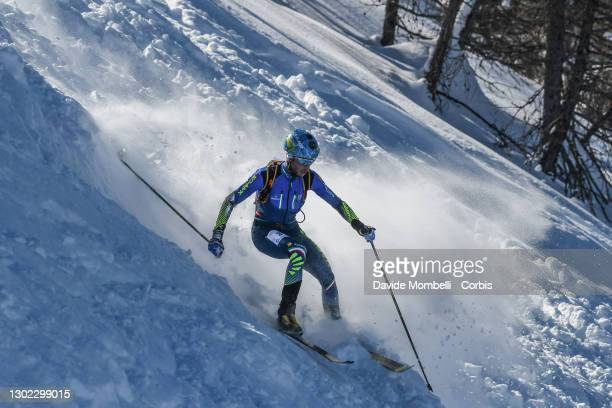 Nadir Maguet in action on the final stretch of the race during Italian Team Ski Mountaineering Championships on February 14, 2021 in ALBOSAGGIA,...