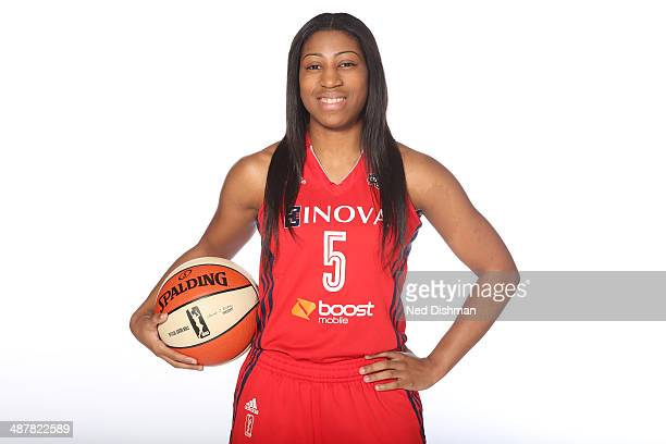 Nadirah McKenith of the Washington Mystics pose for a photo during 2014 Washington Mystics media day at the Verizon Center on April 28 2014 in...