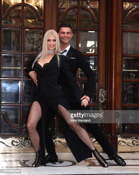 "Nadiya Bychkova and Aljaž Škorjanec pose during the ""Here Come The Boys"" photocall at London Palladium on May 25, 2021 in London, England."