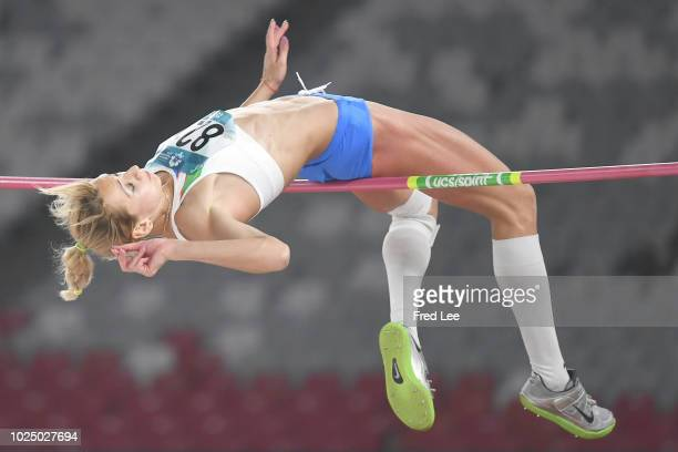 Nadiya Dusanova of Uzbekistan competes in the final of the women's high jump athletics event during on day eleven of the Asian Games on August 29,...