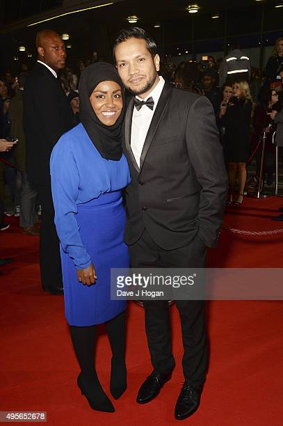 Nadiya Hussain and husband Abdal attend the MOBO Awards at First Direct Arena on November 4 2015 in Leeds England