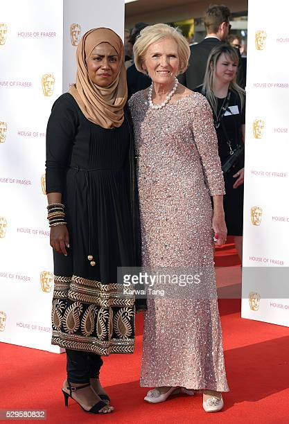 Nadiya Hussain and Mary Berry arrive for the House Of Fraser British Academy Television Awards 2016 at the Royal Festival Hall on May 8, 2016 in...