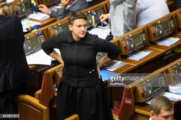 Nadiya Savchenko during a session of Parliament Kyiv Ukraine