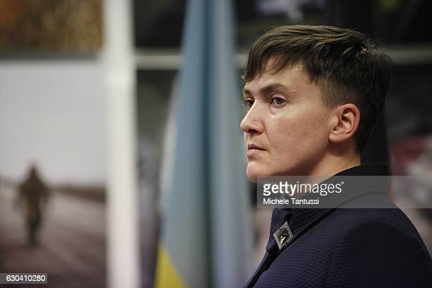 Nadiya Savchenko former Ukrainian army pilot and member of the Ukrainian Parliament speaks during a press conference during which she spoke about the...