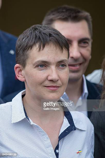 Nadiya Savchenko goes to the subway station after meeting with students on July 7 2016 at the Vistula University in Warsaw Poland Nadiya Savchenko is...
