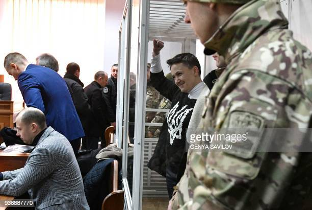 Nadiya Savchenko greets her supporters during a hearing in Kiev's district court on March 23 2018 Ukrainian MP Nadiya Savchenko once hailed as a...