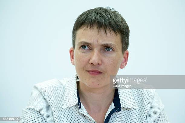 Nadiya Savchenko meets students on July 7 2016 at the Vistula University in Warsaw Poland Nadiya Savchenko is a Ukrainian army pilot deputy in the...