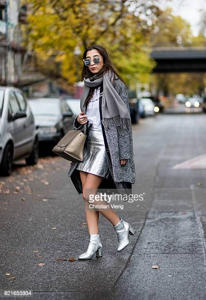 Nadja Ali wearing a grey Zara coat a black KIOMI cardigan a silver Zara mini skirt Celine bag silver Asos ankle boots sunglasses ZERO VINTAGE on...