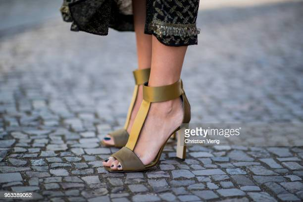 Nadja Ali wearing Lala Berlin dress Jimmy Choo heeled sandals Balmain for HM blazer Liebeskind Berlin bag Celine sunglasses is seen on May 1 2018 in...