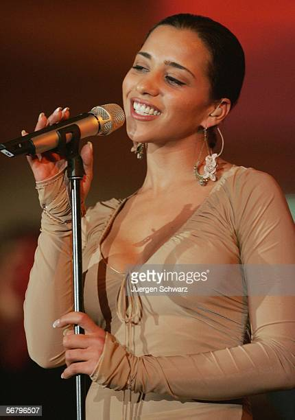 Nadja Benaissa from Hesse performs during rehearsals of the Bundesvision Song Contest 2006 on February 9 2006 in Wetzlar Germany 16 German singers...