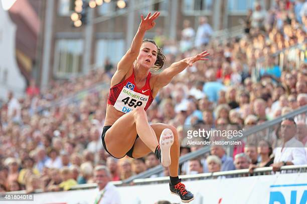 Nadja Kaether of Hamburger SV competes in the womens long jump finale at Hauptmarkt Nuremberg during day 1 of the German Championships in Athletics...