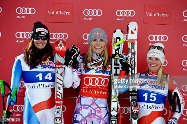 Nadja Kamer of Switzerland takes 2nd Lindsey Vonn of the USA takes 1st place Lara Gut of Switzerland takes 3rd place during the Audi FIS Alpine Ski...