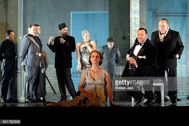 """Nadja Michael and Thomas Moser with artists of the company in the production """"Salome"""" at the Royal Opera House, in London."""