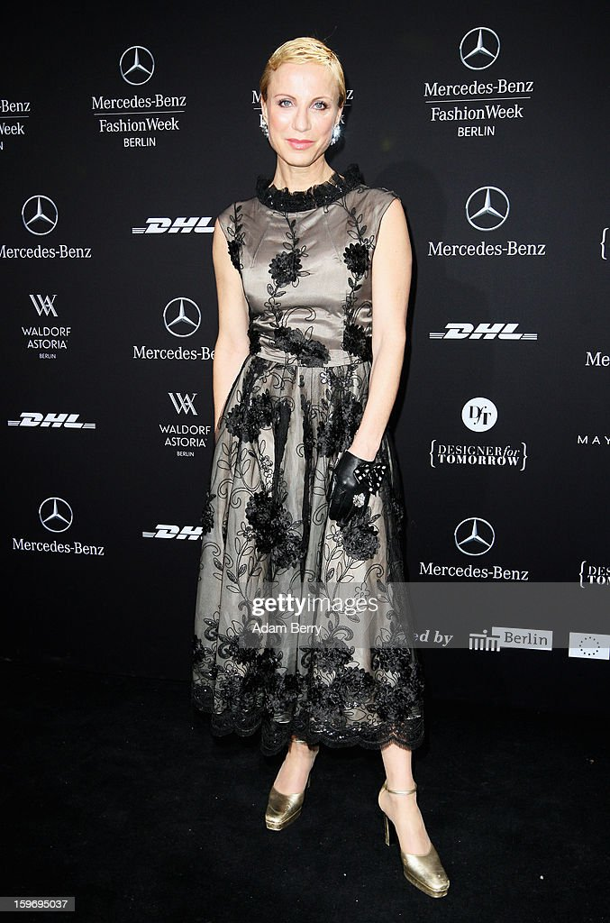 Nadja Michael attends Dawid Tomaszewski Autumn/Winter 2013/14 fashion show during Mercedes-Benz Fashion Week Berlin at Brandenburg Gate on January 18, 2013 in Berlin, Germany.