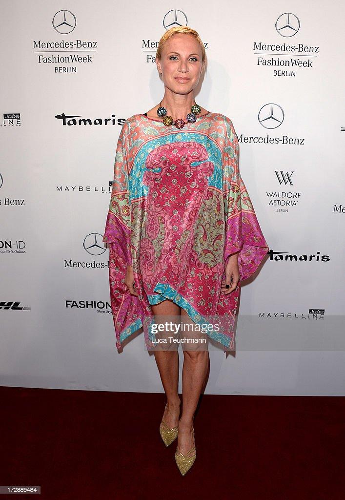 Nadja Michael attends the Miranda Konstantinidou Arrivals at Brandenburg Gate on July 5, 2013 in Berlin, Germany.