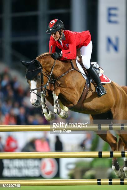 Nadja PETER STEINER riding SAURA DE FONDCOMBE during the Prize of North RhineWestphalia of the World Equestrian Festival on July 21 2017 in Aachen...