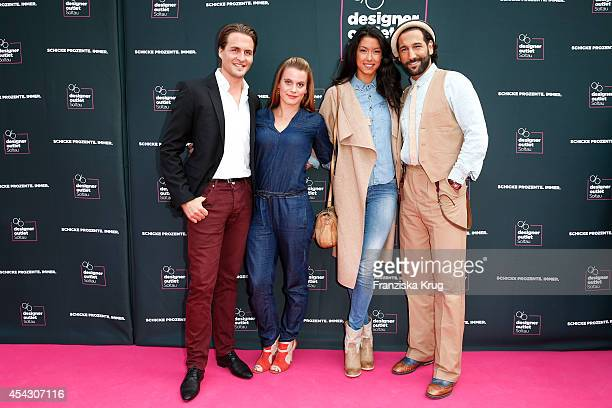 Nadja Scheiwiller Alexander Klaws Rebecca Mir and Massimo Sinato attend the Late Night Shopping Designer Outlet Soltau on August 28 2014 in Soltau...