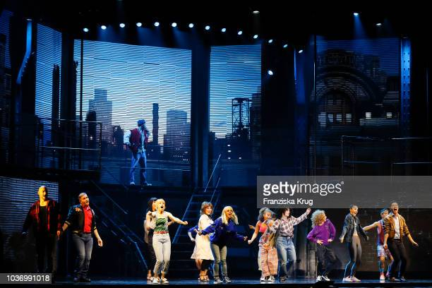 Nadja Scheiwiller and cast during the premiere of 'Flashdance - Das Musical' at Mehr! Theater on September 20, 2018 in Hamburg, Germany.
