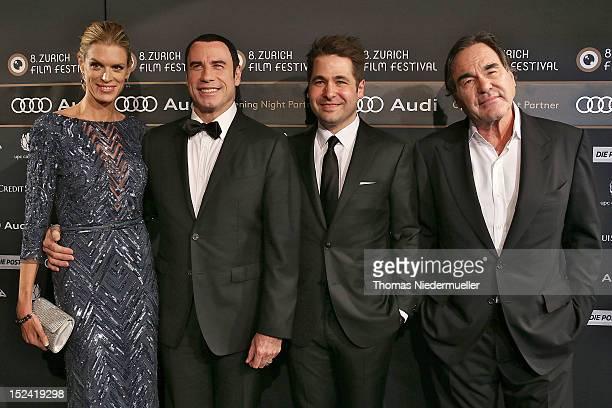 Nadja Schildknecht managing director John Travolta Karl Spoerri artistic director and Oliver Stone attend the green carpet for the 'Savages' movie...