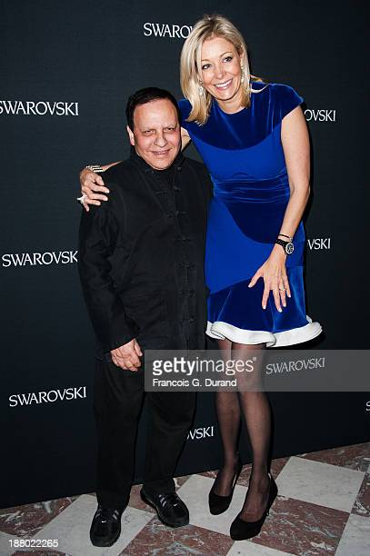 Nadja Swarovski and Azzedine alaia attend the Swarovski Dinner In Honor of the Bouroullec Brothers at Chateau de Versailles on November 14 2013 in...