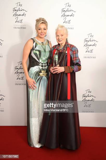 Nadja Swarovski and Dame Vivienne Westwood winner of the Swarovski Award for Positive Change in the winners room during The Fashion Awards 2018 In...