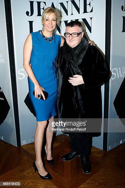 Nadja Swarovski and designer Alber Elbaz attend the Swarovski X Lanvin Cocktail Party at ShangriLa Hotel Paris on March 6 2015 in Paris France