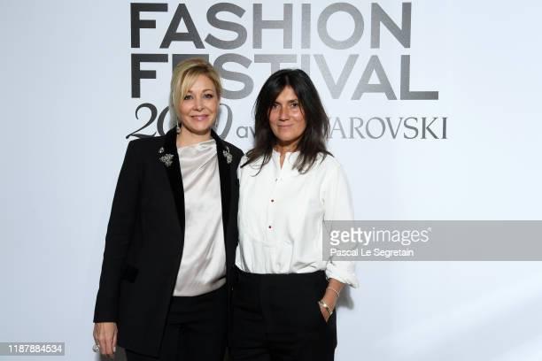 Nadja Swarovski and Emmanuelle Alt attend Vogue Fashion Festival Photocall At Hotel Potocki In Paris on November 15, 2019 in Paris, France.
