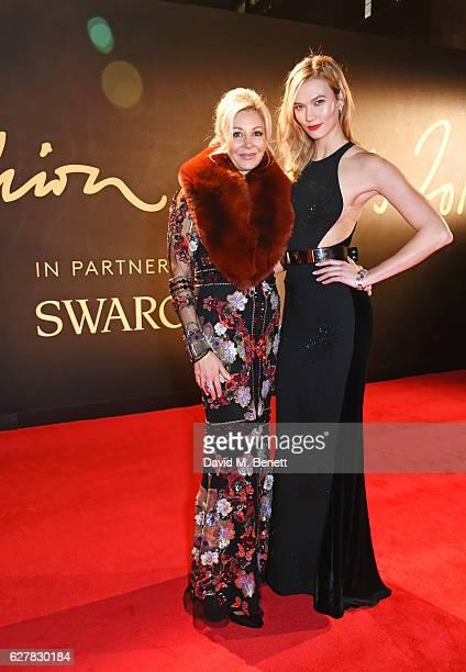 Nadja Swarovski and Karlie Kloss attend The Fashion Awards 2016 at Royal Albert Hall on December 5 2016 in London United Kingdom