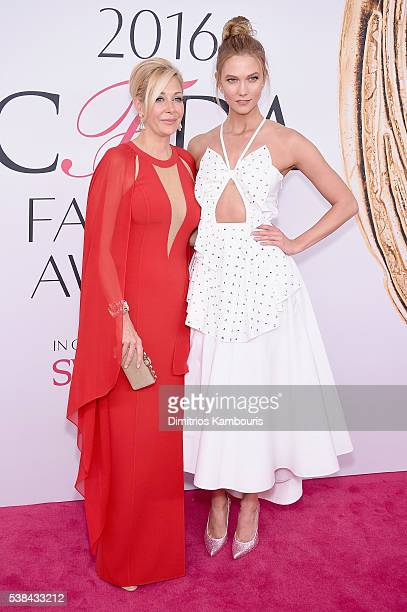Nadja Swarovski and Karlie Kloss attends the 2016 CFDA Fashion Awards at the Hammerstein Ballroom on June 6, 2016 in New York City.