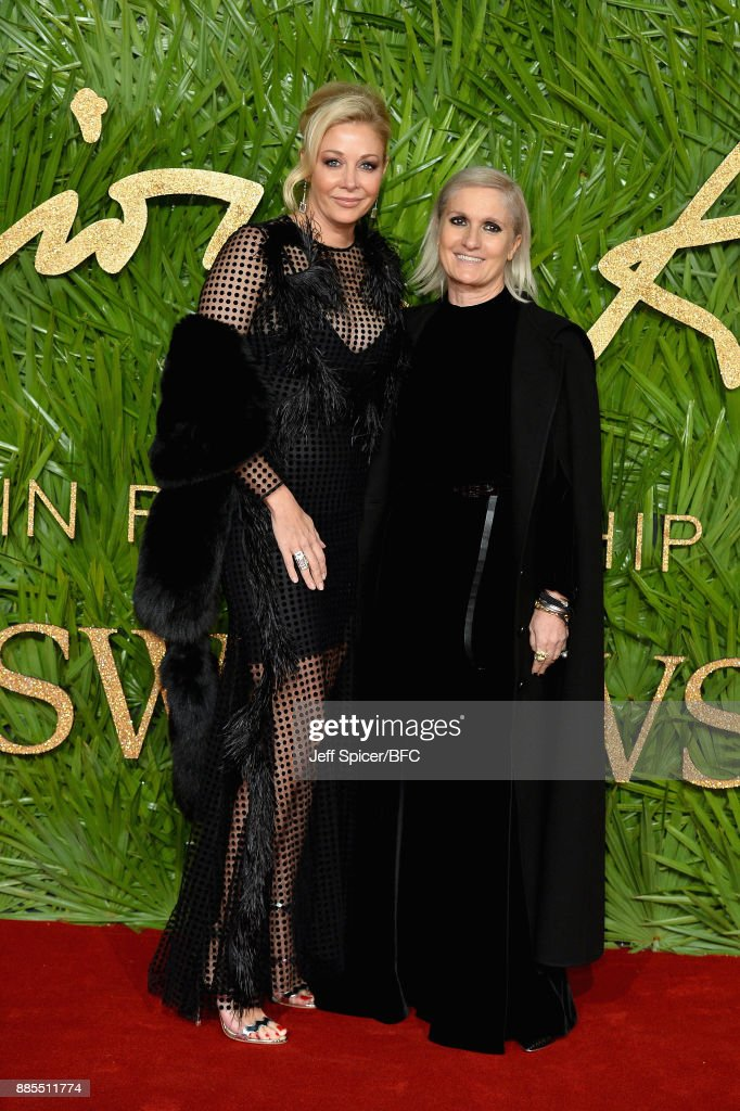 Nadja Swarovski (L) and Maria Grazia Chiuri (R) attend The Fashion Awards 2017 in partnership with Swarovski at Royal Albert Hall on December 4, 2017 in London, England.